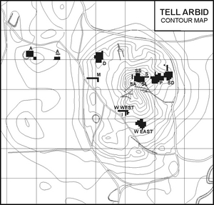 Tell Arbid - contour map with sectors marked